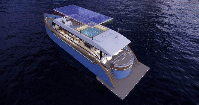 Eco-friendly superyacht JOSIAH concept with blue hull