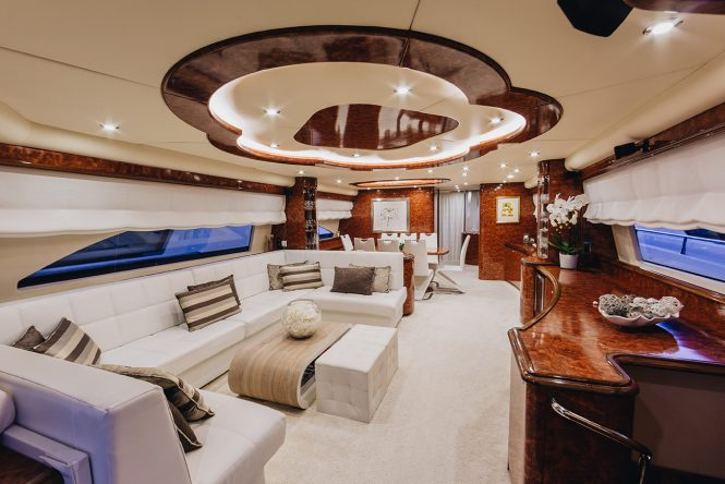 26m charter yacht lady lona offering up to 15 off in the for Inviting interiors