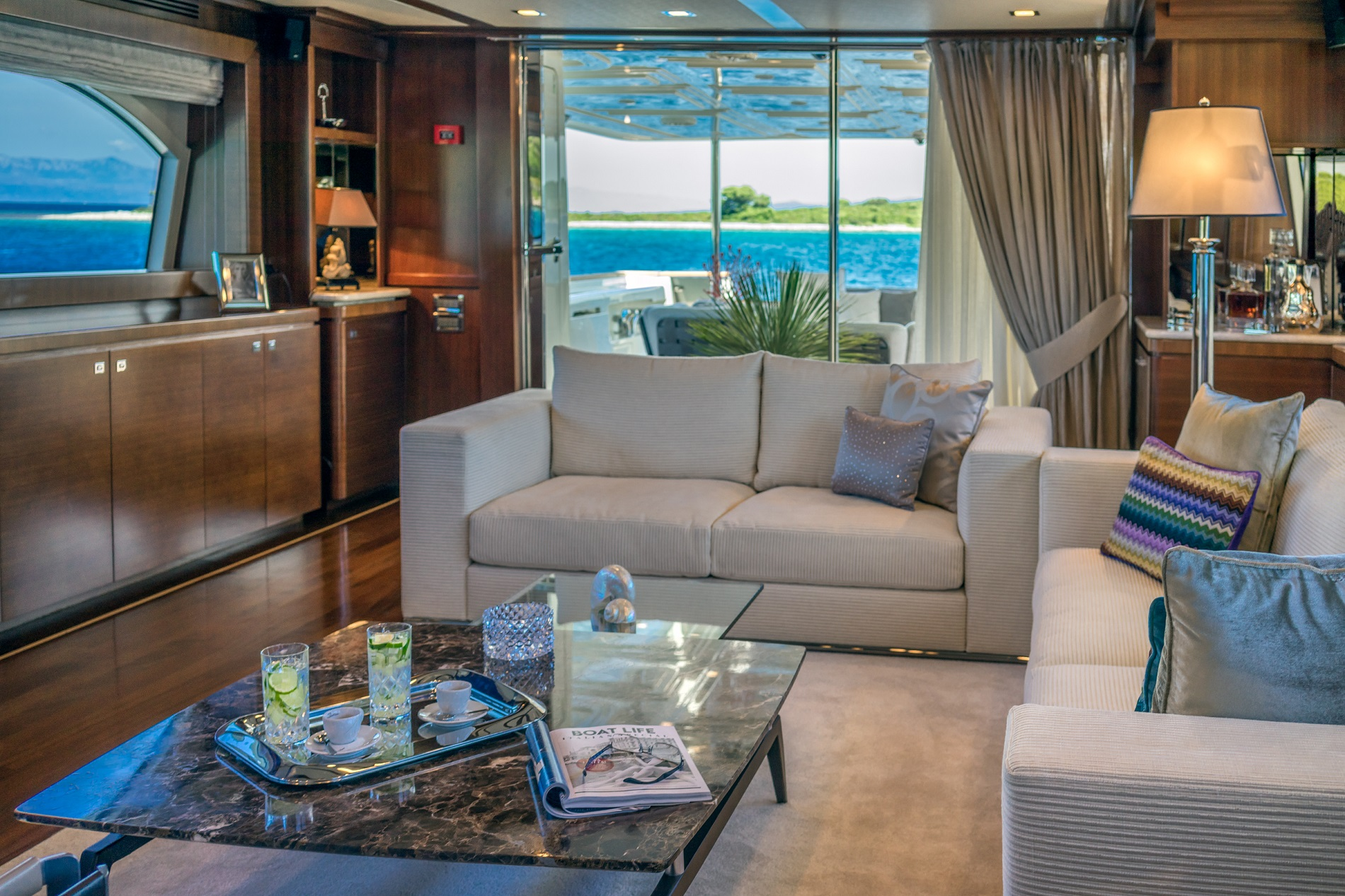 Inviting saloon with luxury service from the professional crew on board