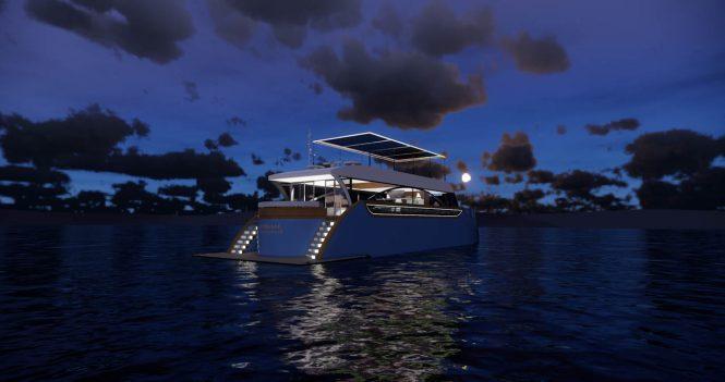 Josiah eco yacht at dusk - rendering
