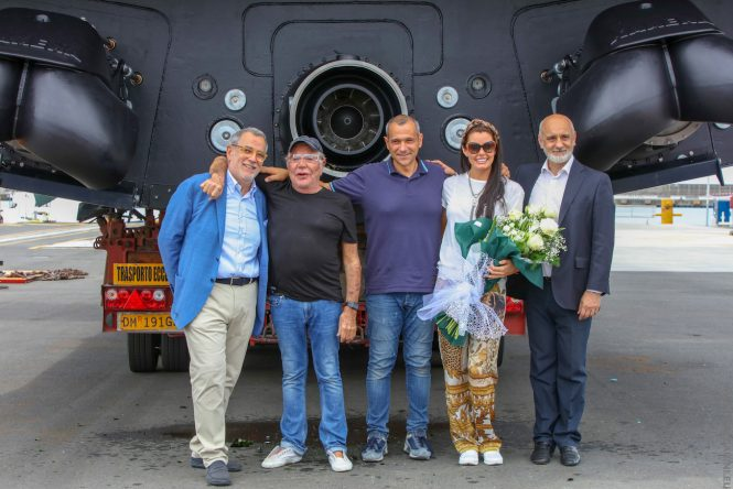 Roberto Cavalli, the proud owner of 27m Freedom during the launch ceremony