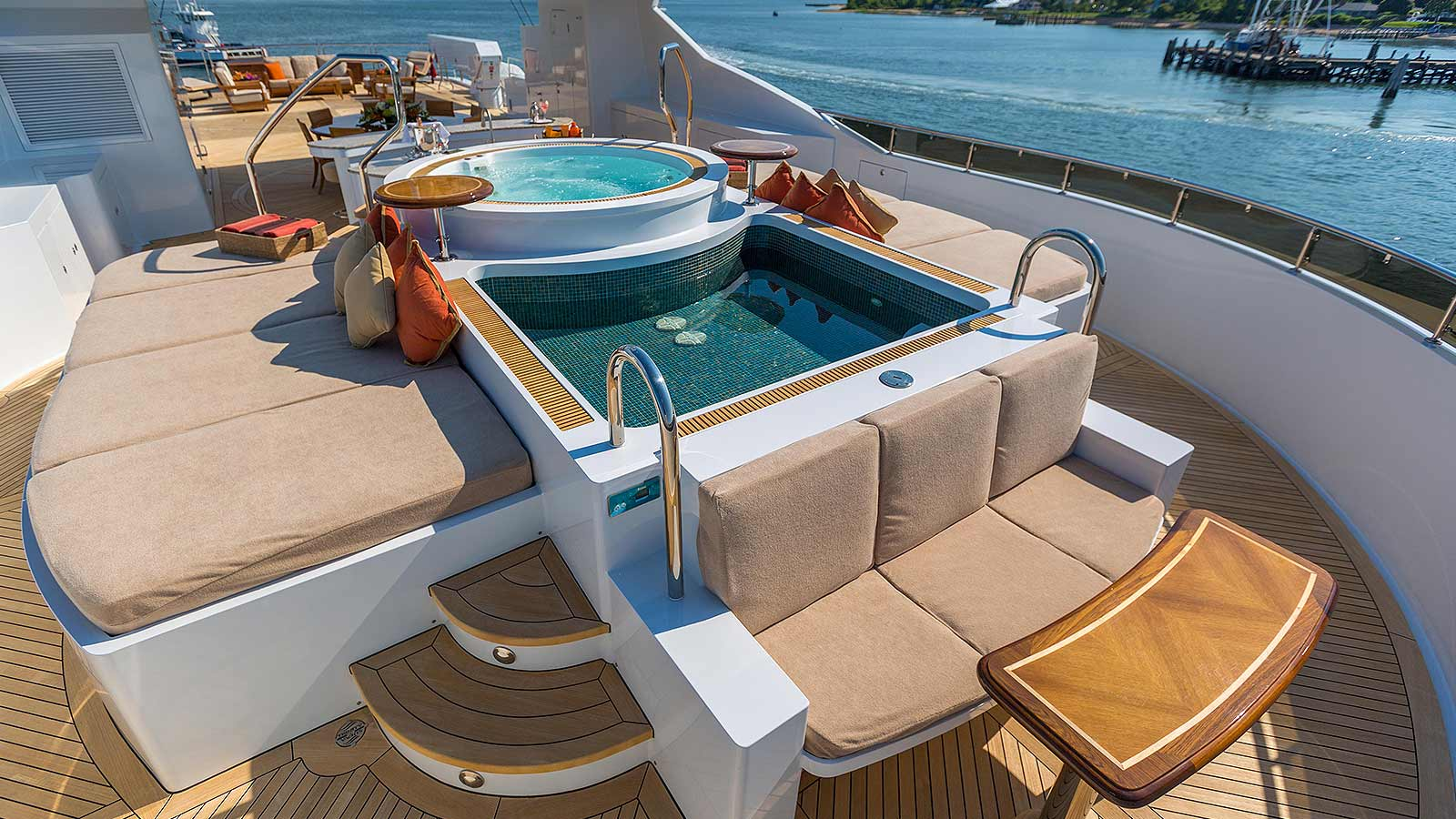 Sun deck with Jacuzzi and pool