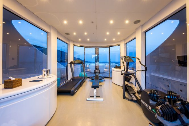 onboard gymnasium to keep fit on holiday