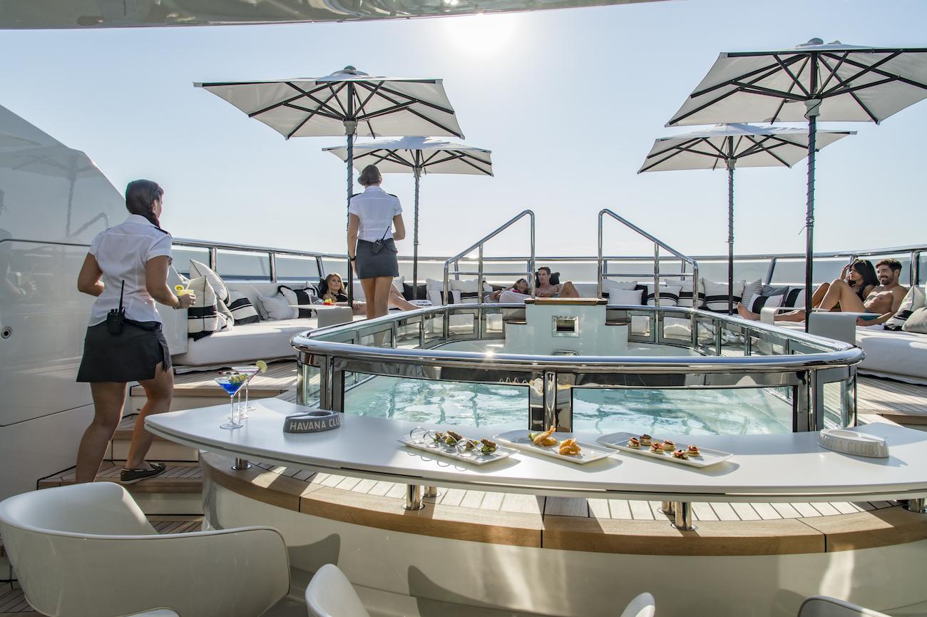 Amazing sunbathing and socialising area around the large Jacuzzi