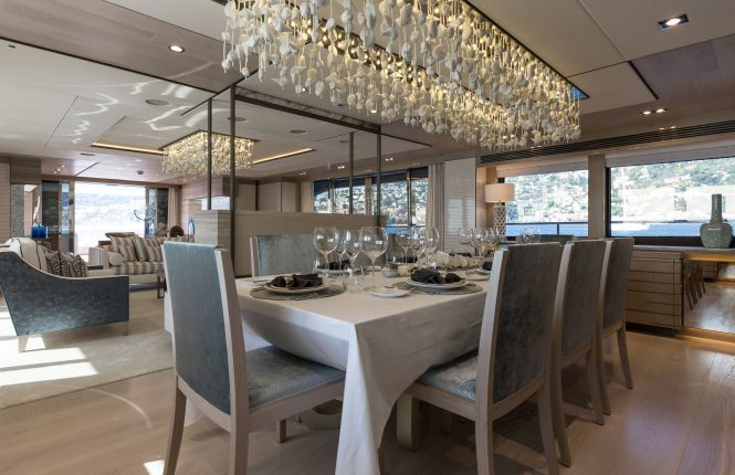 Elegant formal dining room offering deluxe dining experience while on charter
