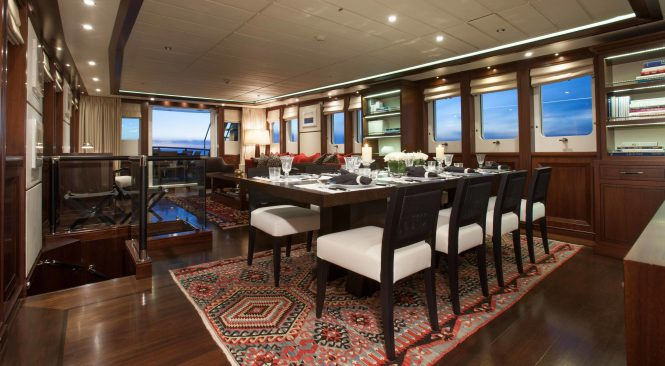 Inviting and modern interiors with spacious socialising spaces on board