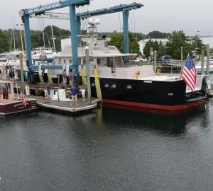 Motor yacht Contraband launched by New England Boatworks Inc