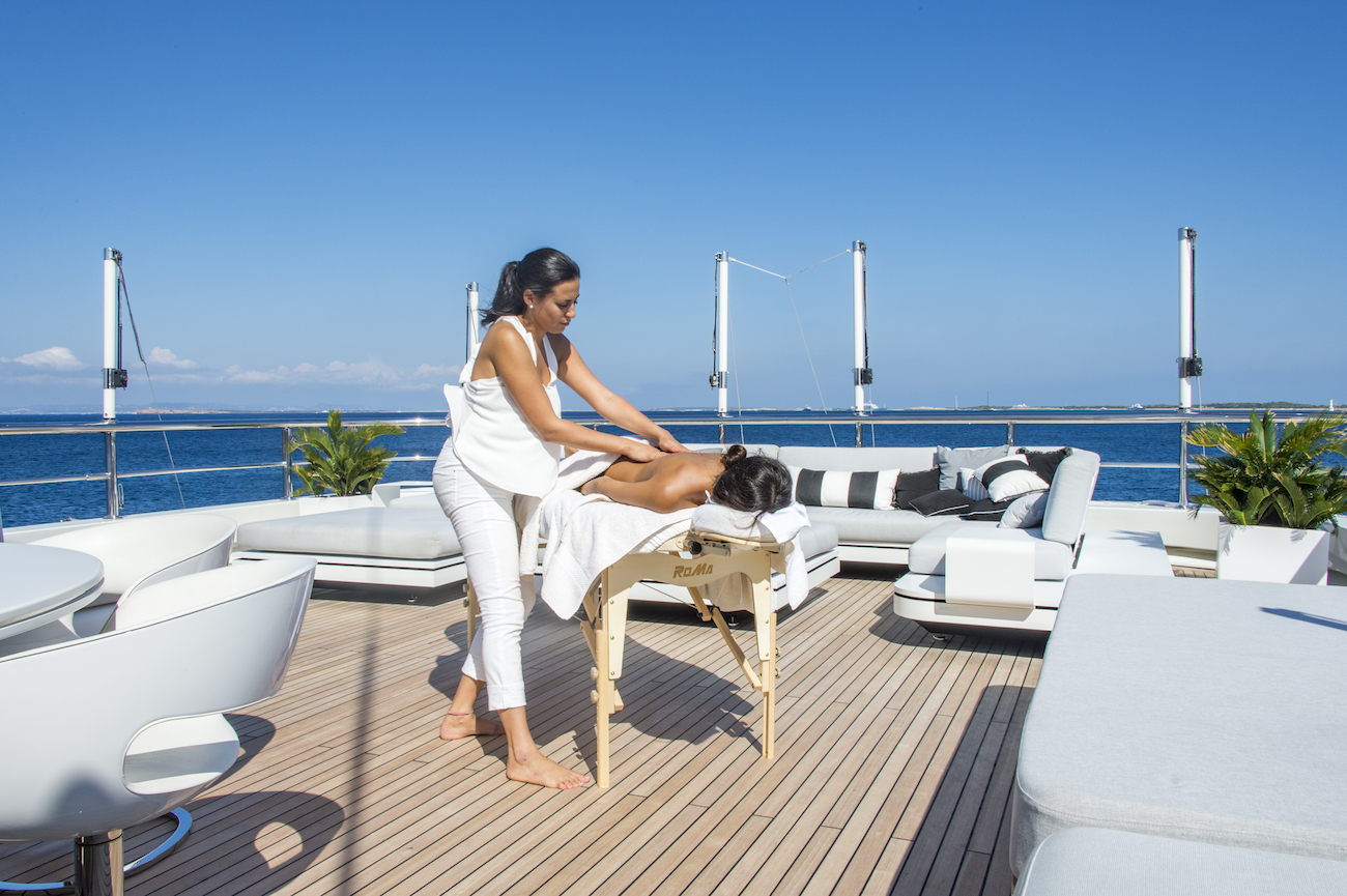 Relaxing massage on board during your charter