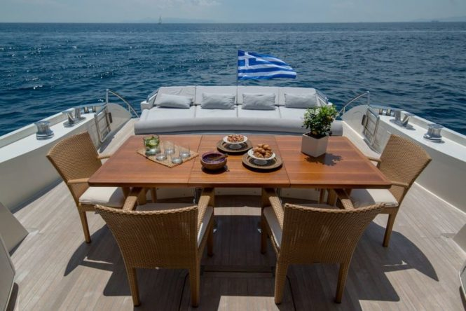 aft deck with alfresco dining option and seating