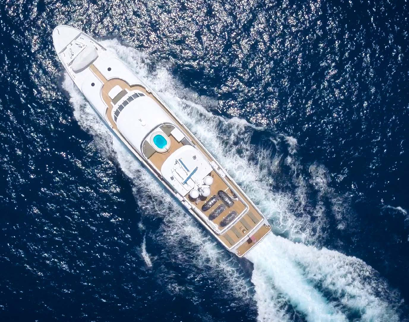 Aerial view of the superyacht