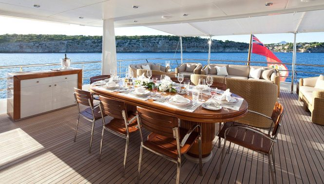 Aft deck offering a spacious area with an alfresco dining possibility and additional seating