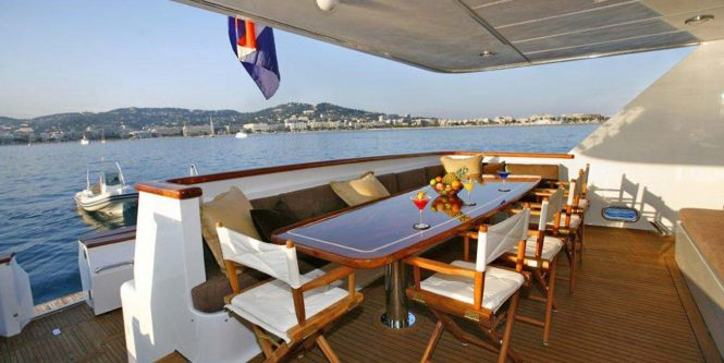 Aft deck with a dining table