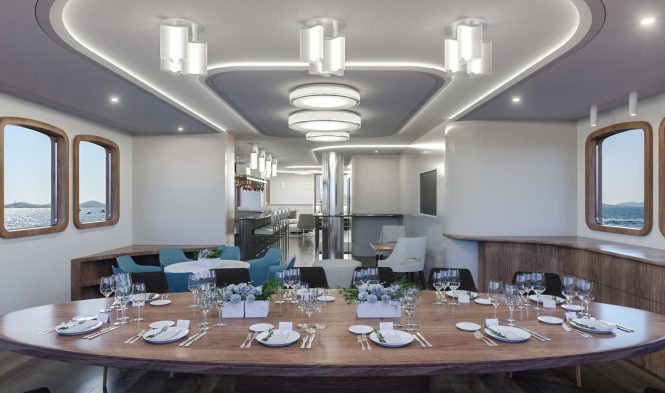 Elegant dining area and saloon - rendering