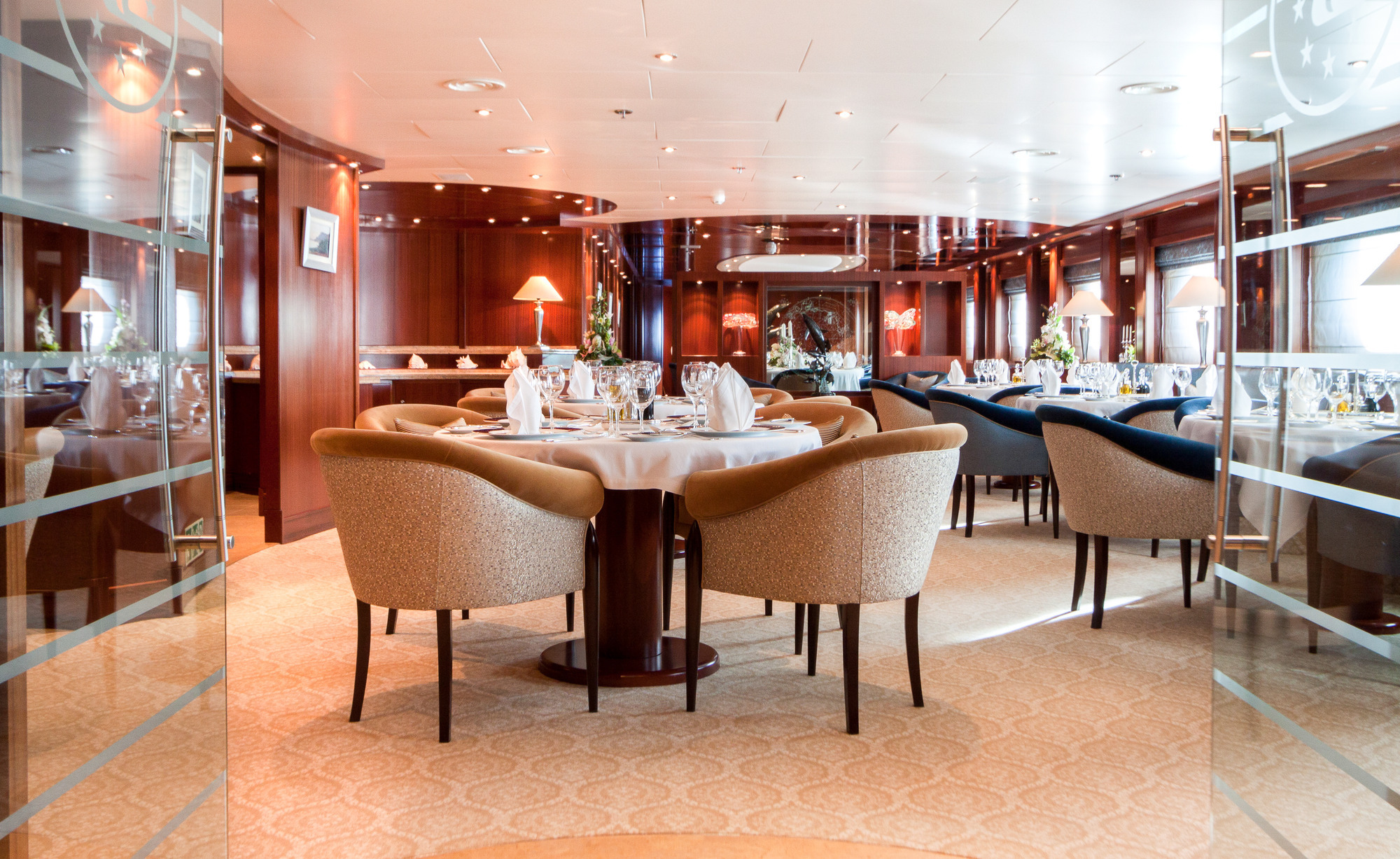 Elegant dining area for all charter guests