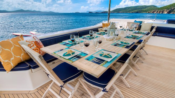 Fabulous aft deck with a dining table for al fresco meals