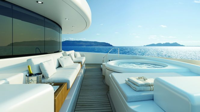 Fantastic foredeck with a private Jacuzzi and sunbathing area