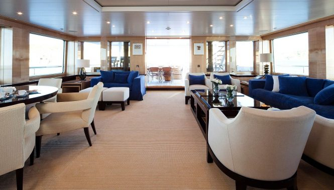Interiors by Laura Sessa aboard the elegant motor yacht LA MIRAGE