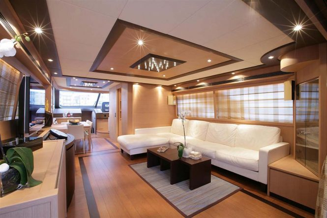 Inviting and modern saloon for a comfortable stay on board