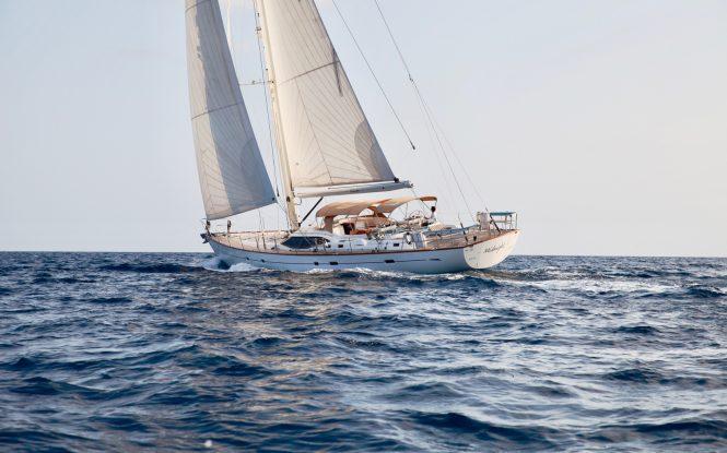 Midnight sailing yacht