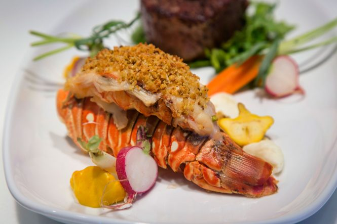 Steak Lobster Tail prepared by the personal Chef on board