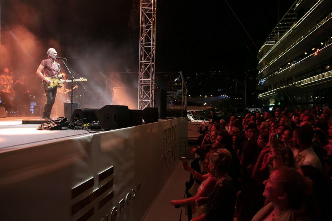 Sting on stage at Monaco Yacht Club 2018