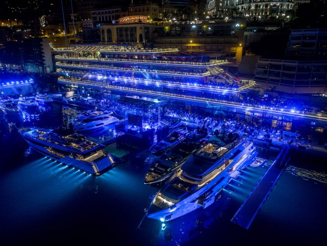 Yacht Club de Monaco private Ferretti preview event hosting Sting in concert