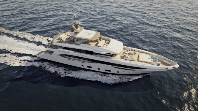 aerial view of DIAMOND 145' superyacht by Benetti