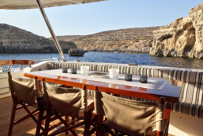 aft deck dining possibility for fabulous views