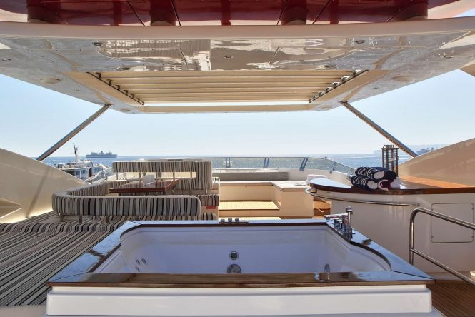 sun deck with Jacuzzi on board