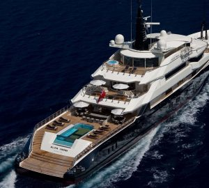82m Charter Yacht ALFA NERO available for Winter Holiday Celebrations in the Caribbean