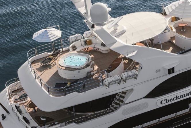 Aerial view of the sun deck with a Jacuzzi