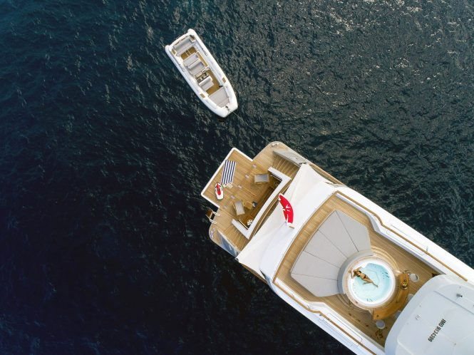 Aerial view of the aft deck and Jacuzzi