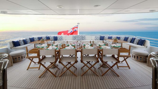 Aft deck dining alfresco