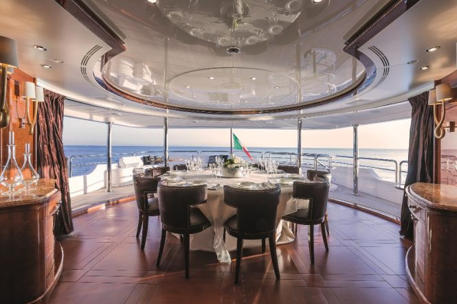 Aft deck dining option with elegant table set up