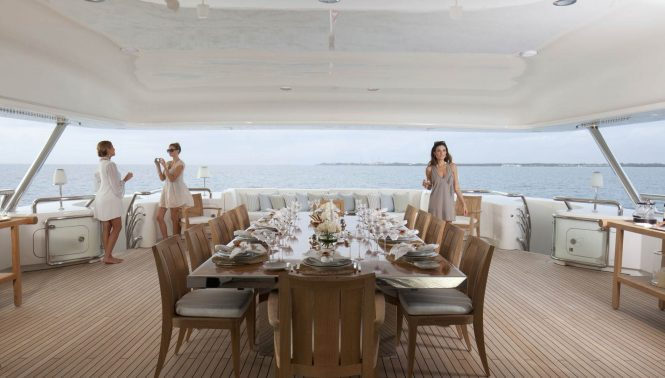 Aft deck ready for alfresco dining
