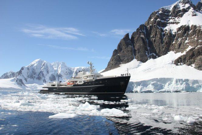 All-goer explorer superyacht Legend in Antarctica. Photo credit CharterWorld