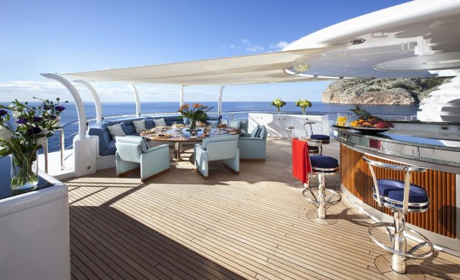 Beautiful upper deck alfresco dining possibility with a large bar