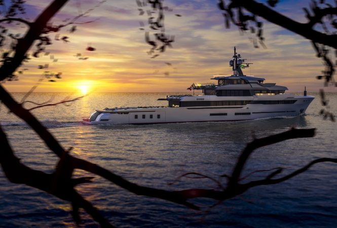 HOT LAB 67 M EXPLORER BY VSY at sunset