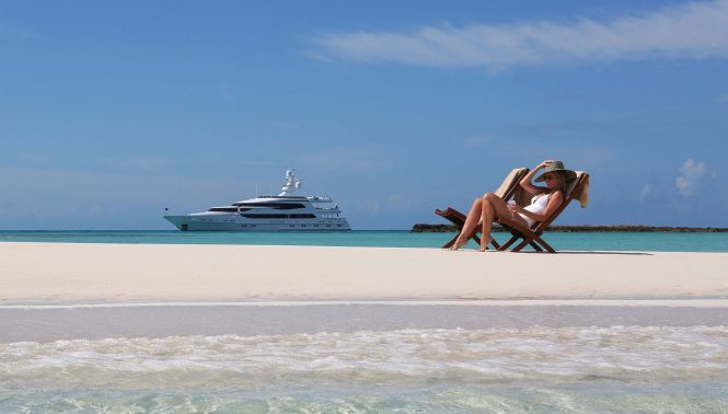 Luxury lifestyle with motor yacht LAZY Z