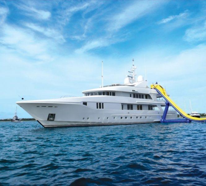 Motor yacht RHINO sporting a fantastic water slide
