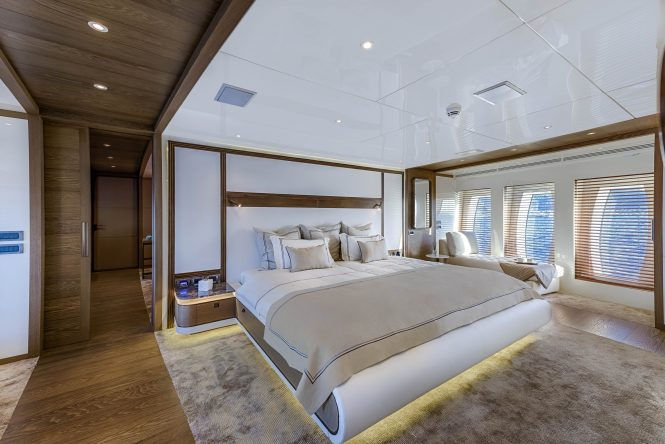 Spacious master stateroom with huge windows