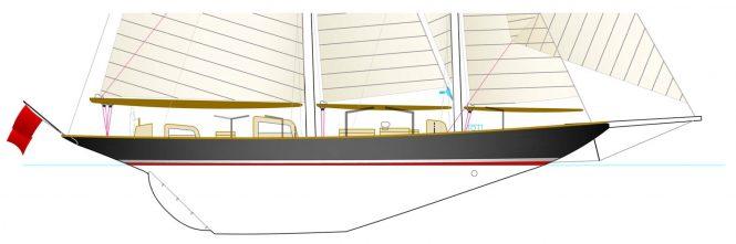 Vagrant post Huisfit hull profile drawing