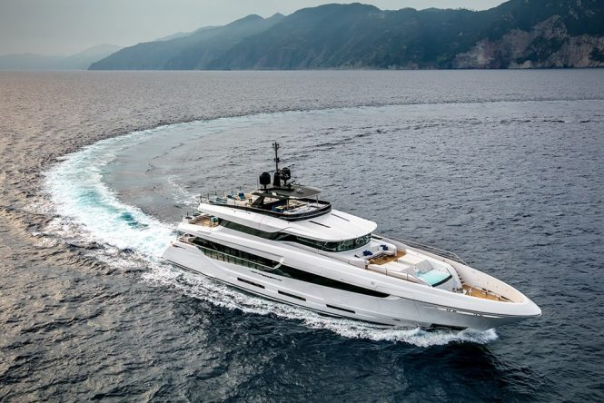 NAMASTE superyacht aerial view running