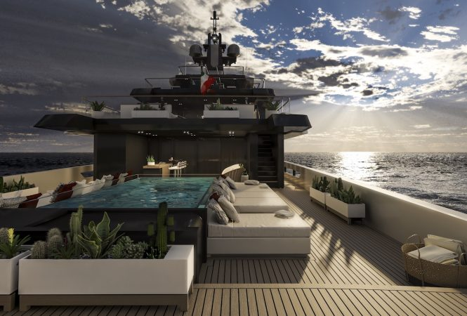 aft deck with swimming pool