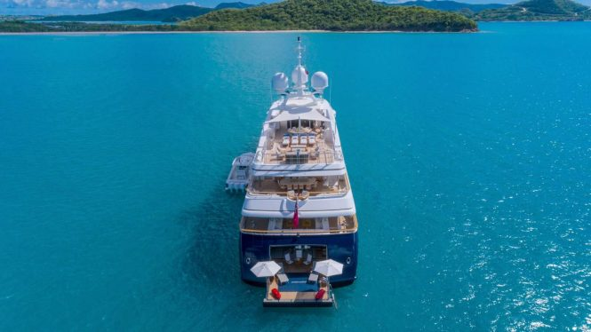 ANDIAMO - Aerial view of the yacht's aft decks