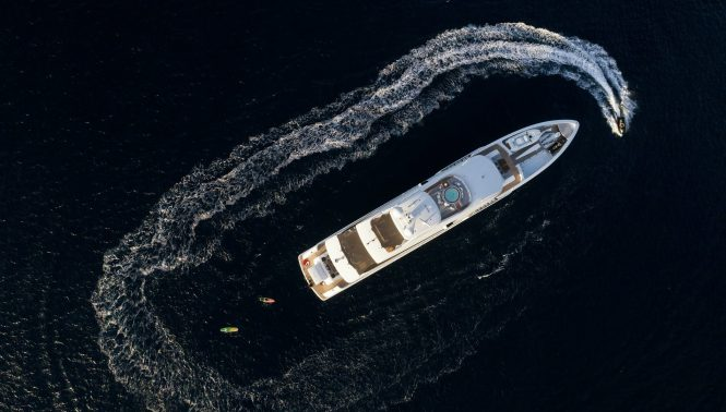 Aerial view of the motor yacht LAURENTIA