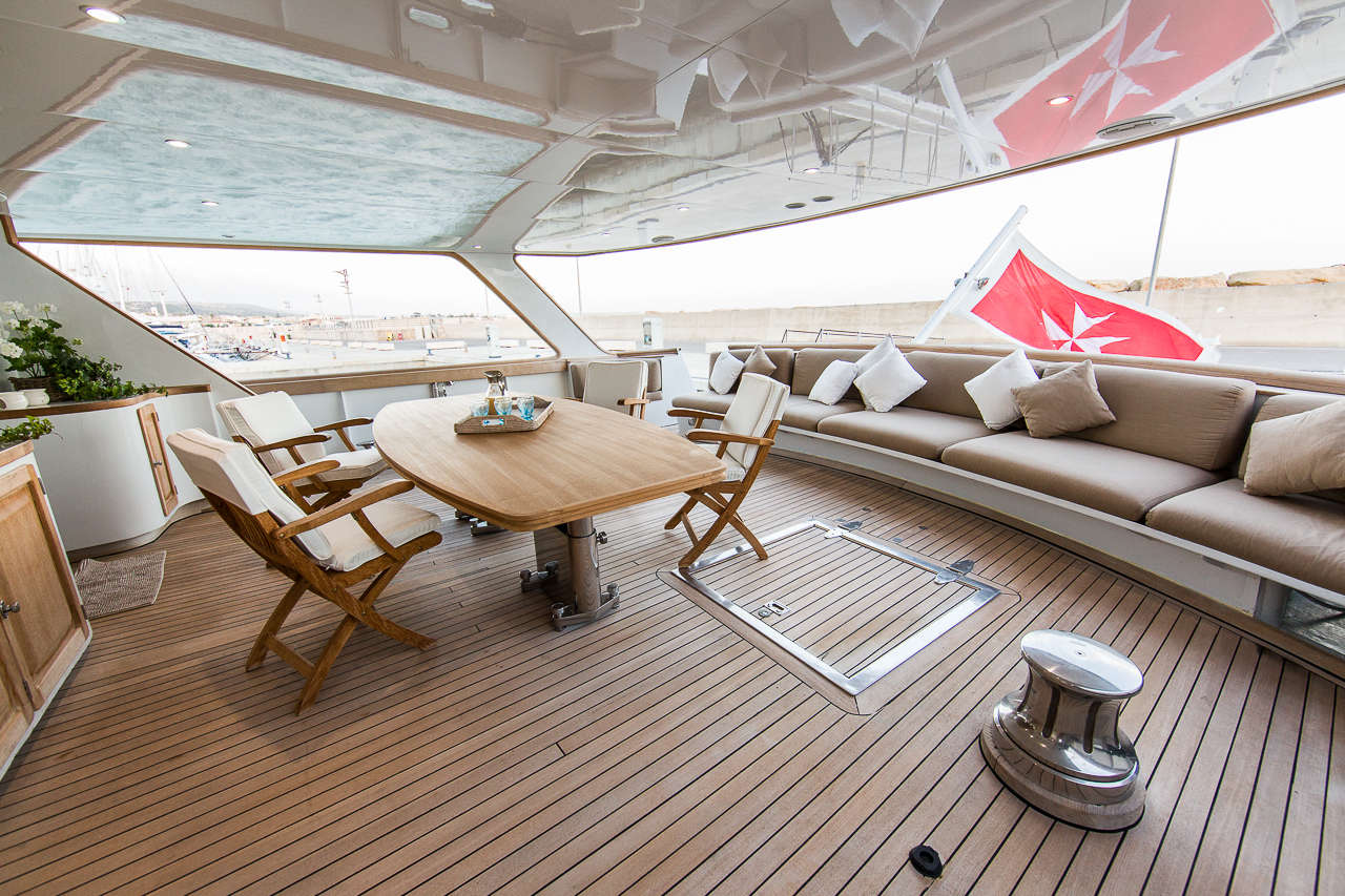 Aft deck offering a comfortable alfresco dining area