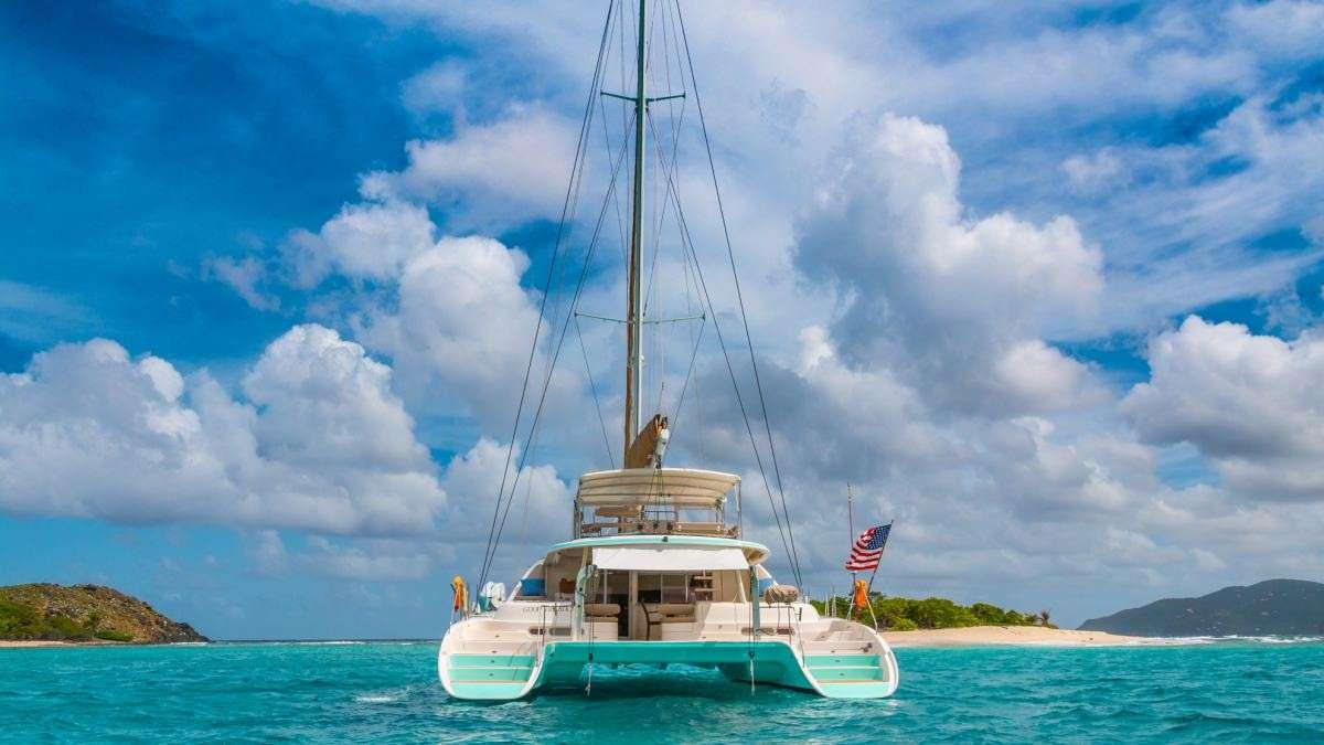 At view of the catamaran yacht Good Vibrations