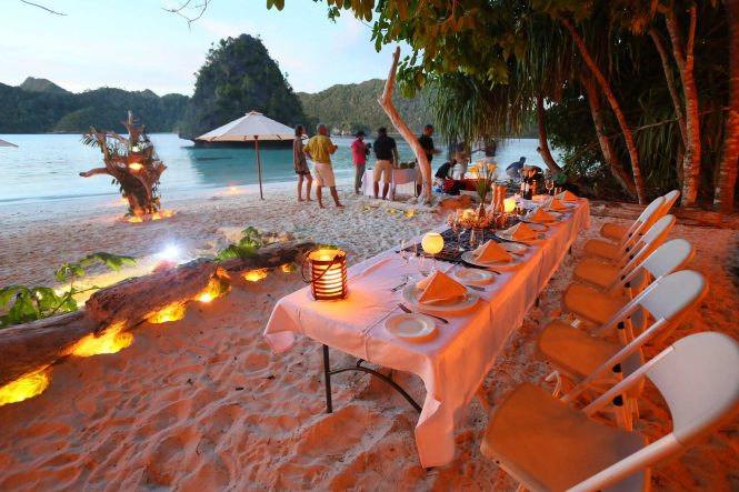 Beach dinner set up for you and your friends