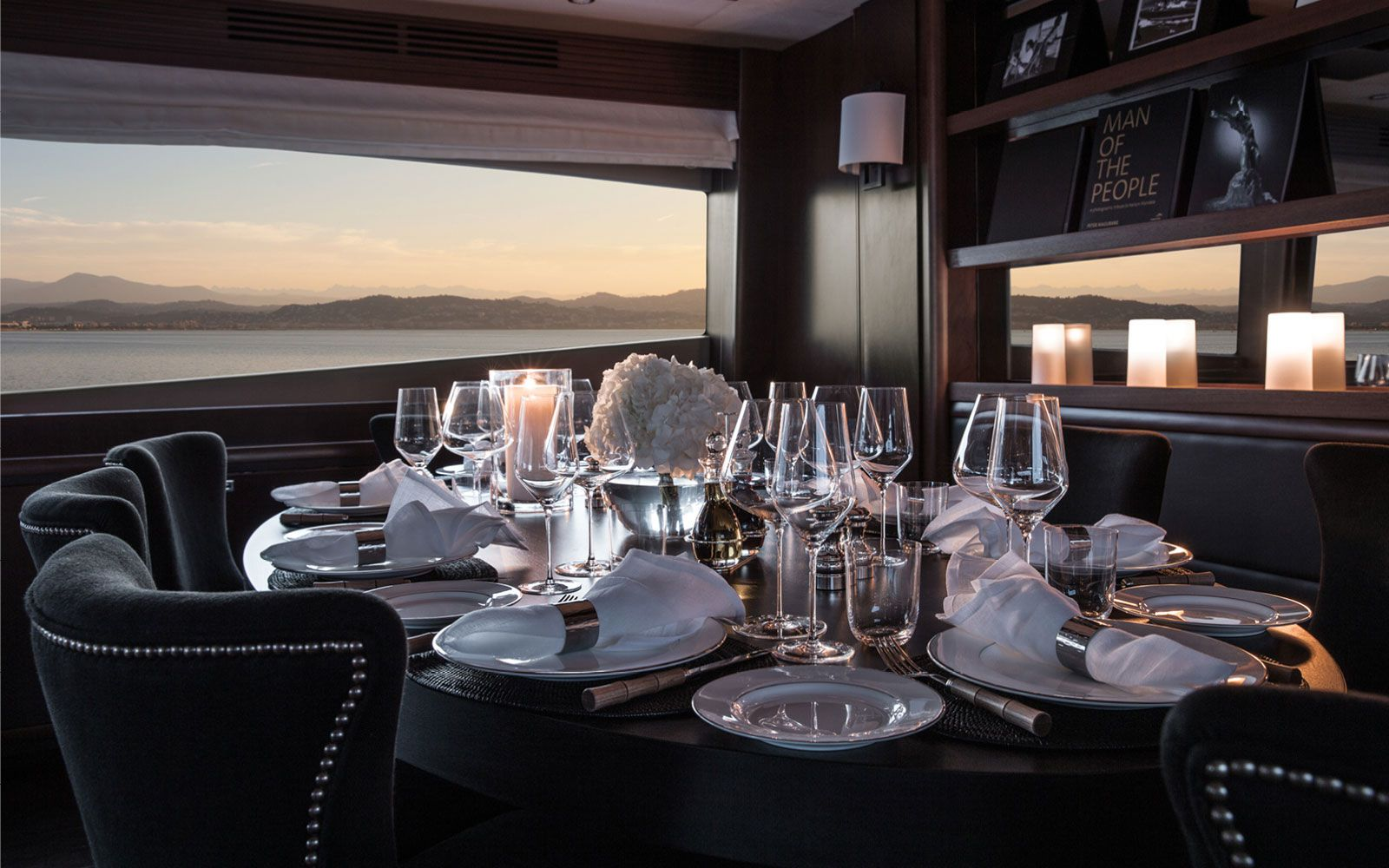 Elegant dining set up for delicious dinners on board
